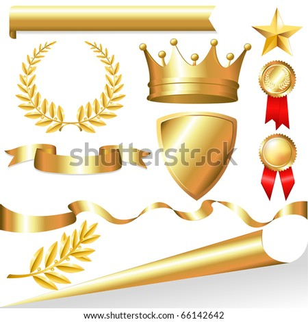Golden Collection From Crowns, Medals, Board, Tapes, Laurel Branch And Wreath, Isolated On White Background - stock photo