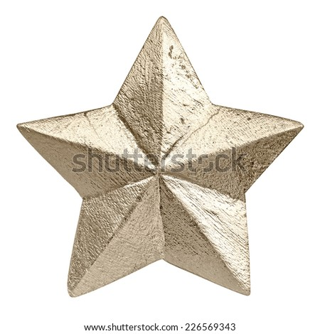 golden colored christmas star ornament isolated on white, handmade festive decoration  - stock photo
