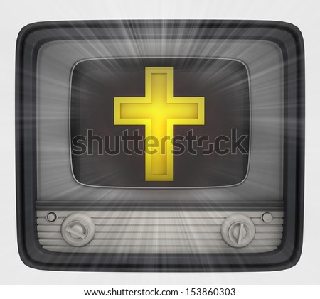 golden cross in retro television and flare illustration - stock photo