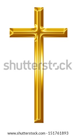golden cross on a solid white background - stock photo