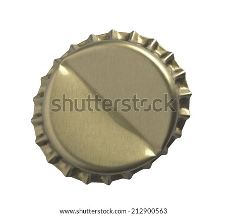 Golden crown cap Bottle cap open and isolated on white - stock photo