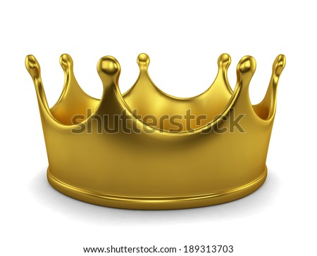 Golden crown. 3d image isolated on white background - stock photo