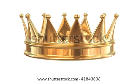 Golden crown isolated on white - stock photo
