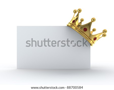 Golden crown on blank card - stock photo