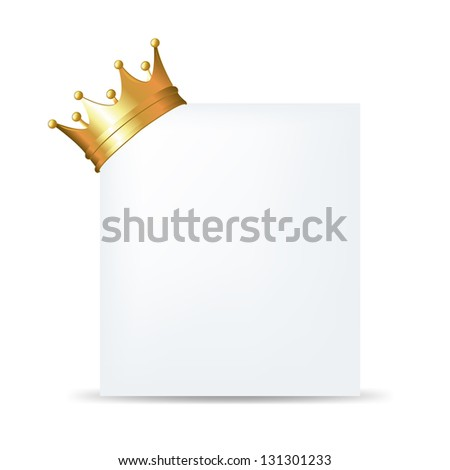 Golden Crown On Blank Card, Isolated On White Background - stock photo