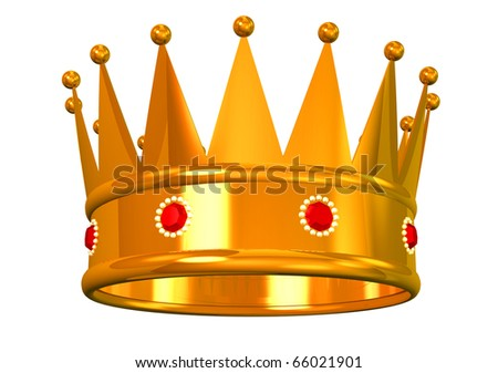 Golden crown on white - stock photo