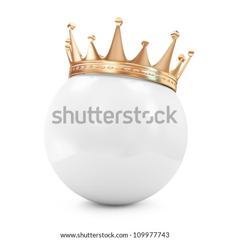 Golden Crown on White Ball isolated on white background - stock photo