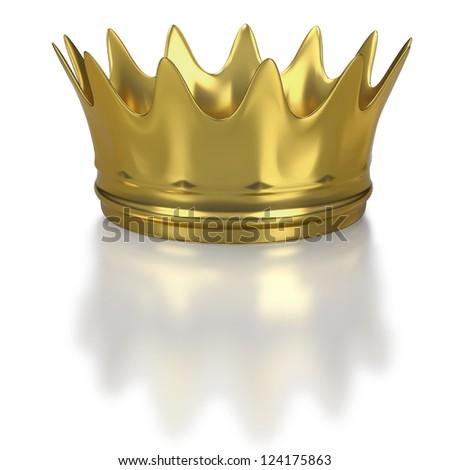 Golden crown or coronet on white background - stock photo