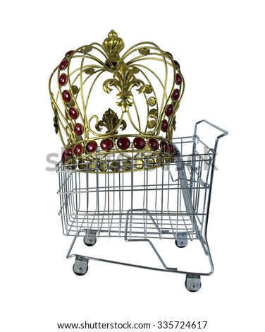 Golden crown with jewels in a shopping cart - path included - stock photo