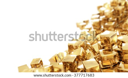 Golden cubes isolated - stock photo