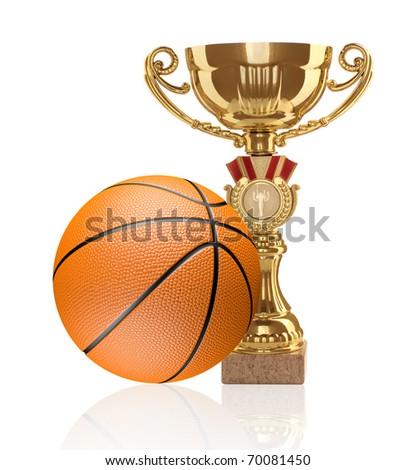 Golden cup. Basketball. - stock photo