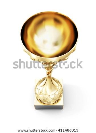 Golden cup isolated on white background. Top view. 3d render image. - stock photo