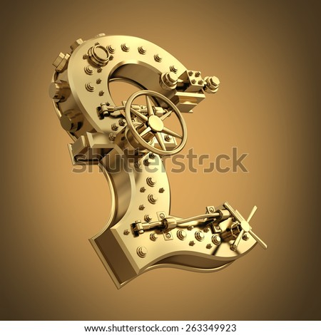 Golden currency British pound symbol and banking safe. High resolution 3D  - stock photo