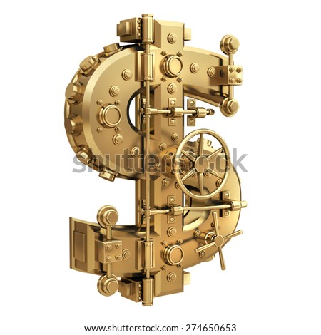Golden currency dollar symbol and banking safe isolated on white background. High resolution 3d - stock photo