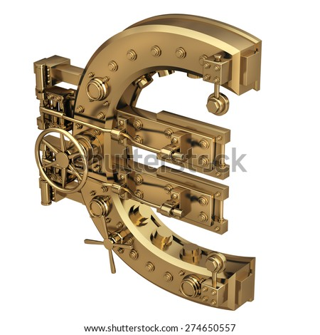 Golden currency euro symbol and banking safe isolated on white background. High resolution 3d - stock photo