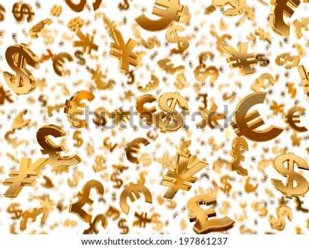 Golden currency symbols falling on the white background. - stock photo