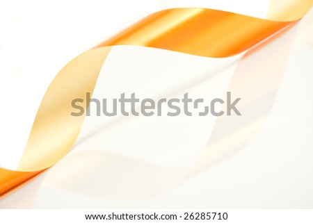 golden curved ribbon with reflection on white - stock photo