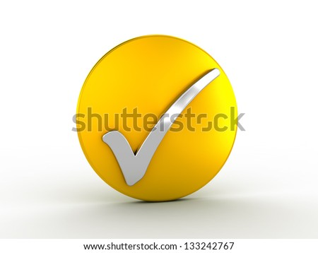 Golden cylinder with check mark - stock photo