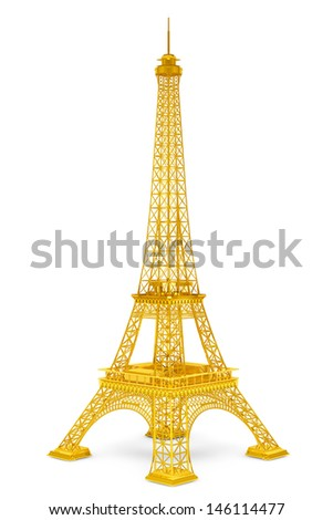 Golden 3d Eiffel tower on a white background - stock photo