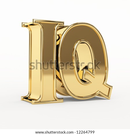 Golden 3d  letters I and Q. Object over white - stock photo