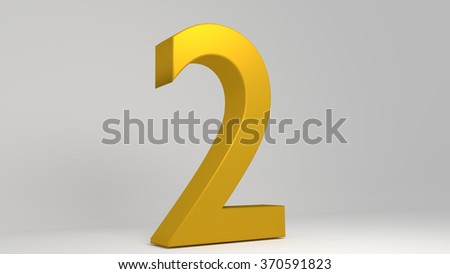 Golden 3D number. Lights and shadows. Rendered illustration. - stock photo