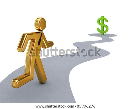 Golden 3d small person running to dollar sign.Isolated on white background. - stock photo