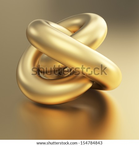 golden 3d torus model with clipping path - stock photo