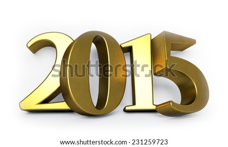 Golden 3D 2015 year figures leaned to the wall. - stock photo