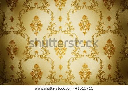 Golden Damask Pattern - stock photo