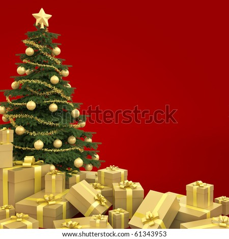 Golden decorated christmas tree with many presents isolated against a red background - stock photo