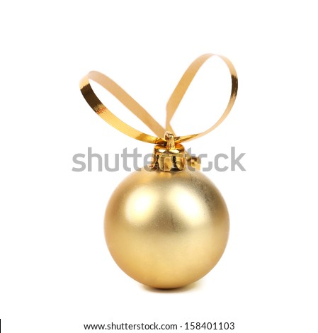Golden decorativ christmas ball. - stock photo