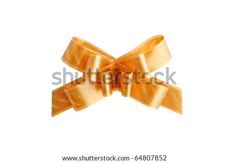Golden decorative bow isolated on white background - stock photo