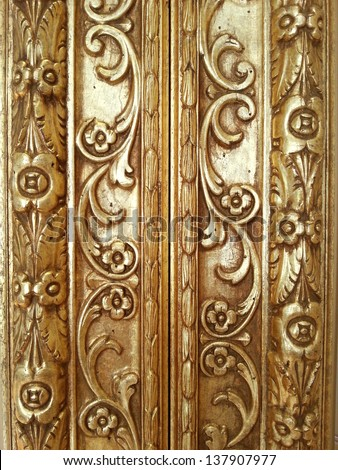 Golden decorative frame detail background - stock photo