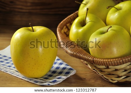 Golden delicious apple, typical of Trentino Alto Adige, Italy - stock photo