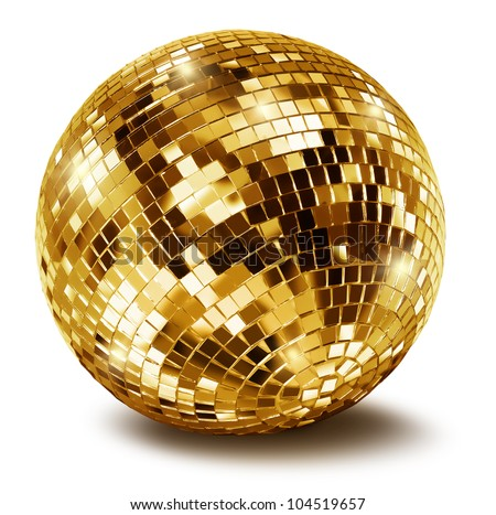 Golden disco mirror ball isolated on white background - stock photo