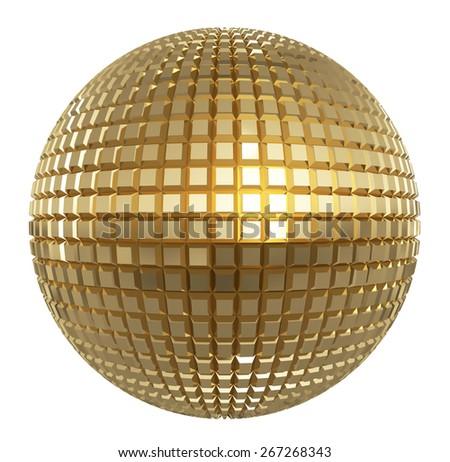Golden disco mirror ball isolated on white background - stock photo
