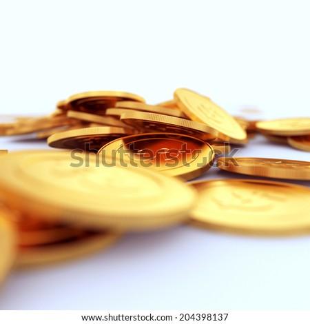 Golden dollar coins on white background. DOF - stock photo