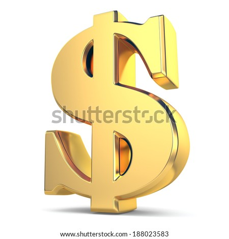 Golden dollar currency sign on white isolated background. 3d - stock photo