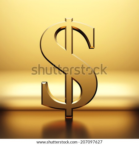 Golden dollar sign on golden background - stock photo