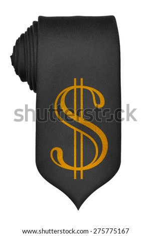 Golden dollar symbol on black rolled up tie isolated on white background - stock photo