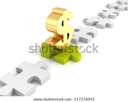 golden dollar symbol on green jigsaw puzzle - stock photo