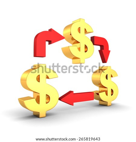 Golden Dollar Symbols With Cycled Red Arrows Business Concept On White Background - stock photo