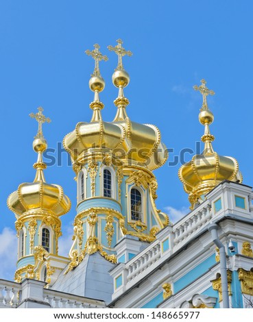 Golden dome of Catherine Palace in Pushkin, Russia - stock photo