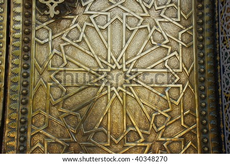 Golden door detail in Royal Palace in Fes, Morocco - stock photo
