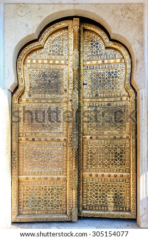 Golden Doors of Hawa Mahal or Palace of Winds in Jaipur, Rajasthan, India, Asia - stock photo