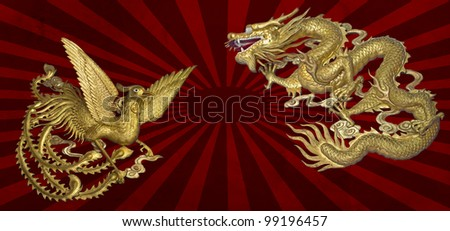 golden dragon and golden phoenix on sun graphic background - stock photo