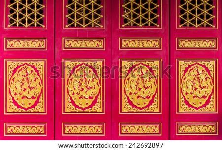 Golden Dragon Chinese door background - stock photo