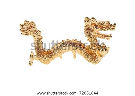 Golden Dragon Figurine Isolated On White Background - stock photo