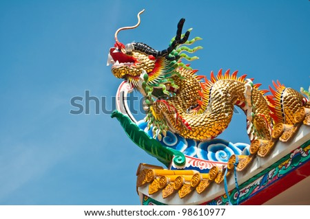 Golden dragon on the roof of shrine,Thailand - stock photo