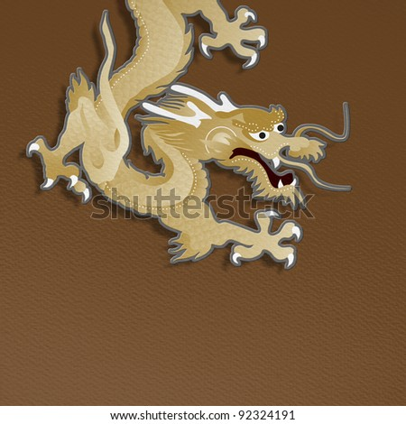 golden dragon paper craft on brown background for chinese new year celebration - stock photo